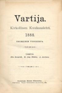 Aikakauslehti Vartijan ensimmäisen numeron kansi.