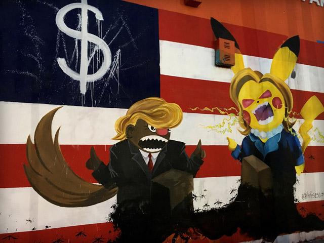 Yhdysvaltain presidentinvaalit näkyvät katukuvassa Floridassa. Kuva: Petra Kuivala
