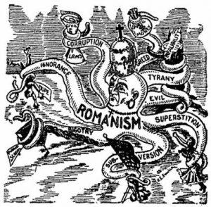Antikatolista propagandaa 1800-luvulta.