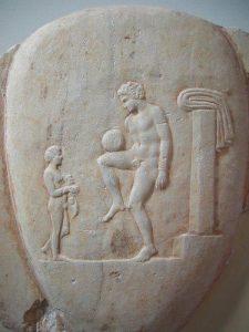 Muinainen kreikkalainen jalkapalloilija. Kuva: Wikipedia.