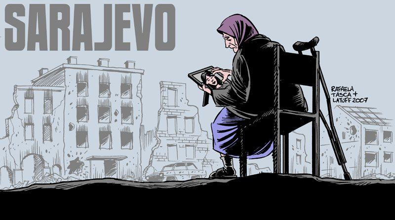 Sarajevon piiritys. Kuva: Carlos Latuff/Wikimedia Commons.