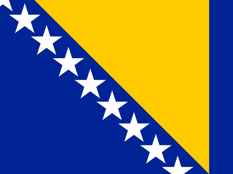 Bosnian ja Hertsegovinan lippu. Kuva: Wikipedia.