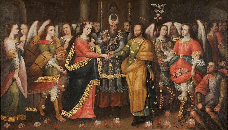 Tuntemattoman taiteilijan (1600-luvun lopulta) näkemys Neitsyt Marian ja Joosefin avioliitosta. Kuva: Wikimedia Commons.