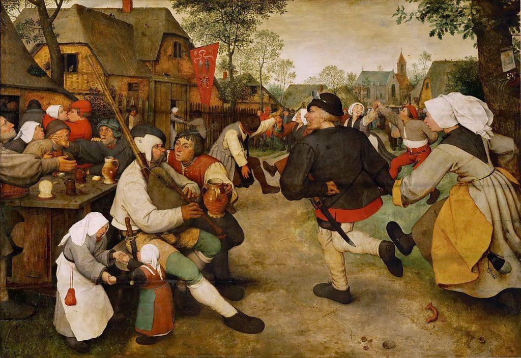 Pieter Brueghel vanhemman maalaus Talonpoikaistanssit (1560-luku). Kuva: Wikipedia.
