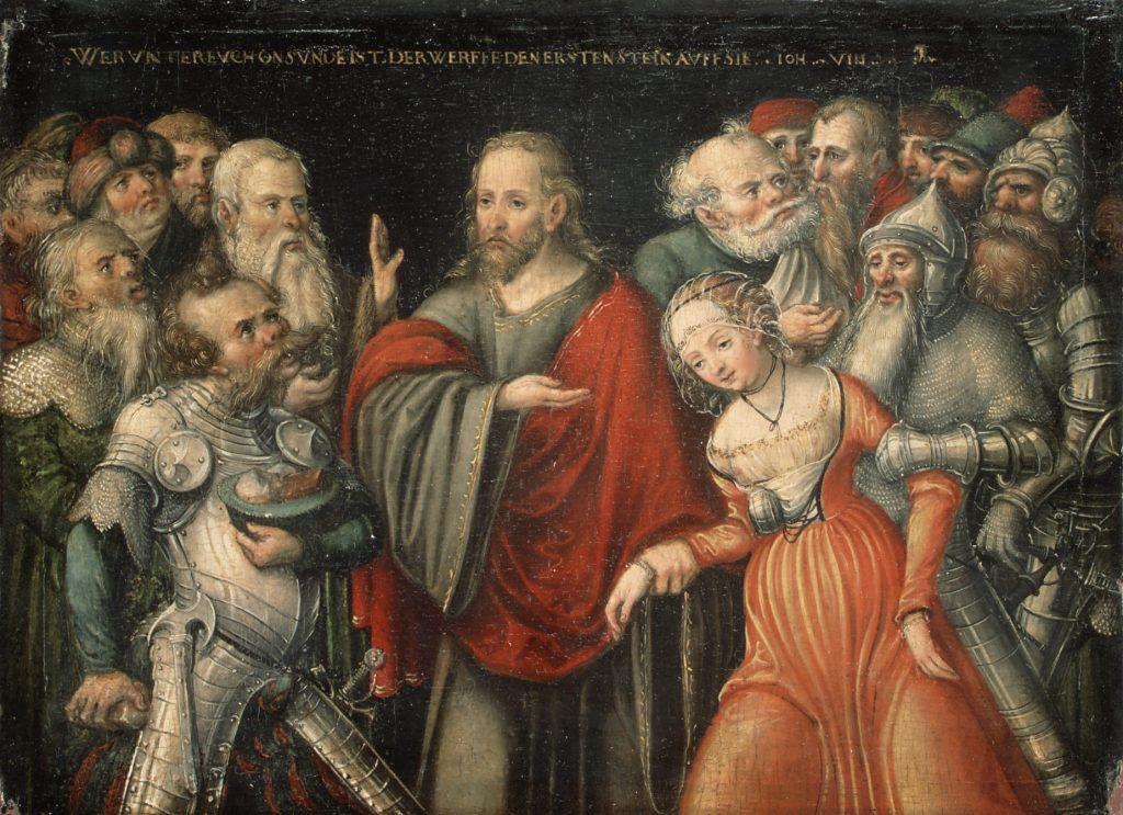 Lucas Cranach nuoremman maalaus Kristus ja syntinen nainen (1545–1550). Kuva: Wikipedia.