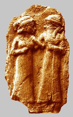 Muinainen sumerilainen hääpari. Kuva: Wikipedia.