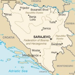 Medjugorjen sijainti Bosnian ja Hertsegovinan sisällä.