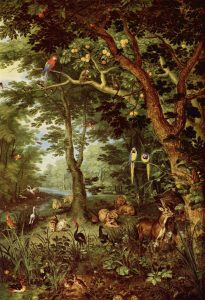 Jan Brueghel vanhemman näkemys paratiisista noin vuodelta 1620. Kuva: Wikipedia.
