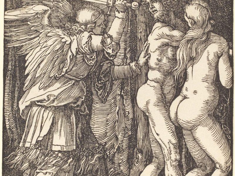 Albrecht Dürerin näkemys (1510) paratiisista karkottamisesta. Kuva: Wikipedia.