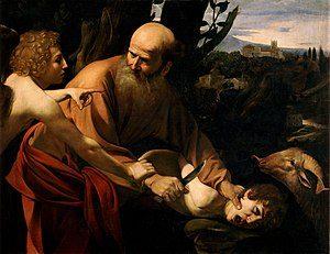 Caravaggion maalaus Iisakin uhraus. Kuva: Wikipedia.