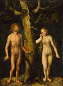 Lucas Cranach vanhemman maalaus Aatamin ja Eevan kiusaus. Kuva: Wikipedia.