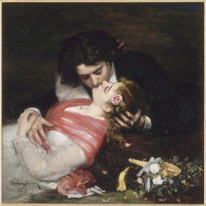 Ranskalaisen Carolus-Duranin maalaus Suudelma vuodelta 1868.