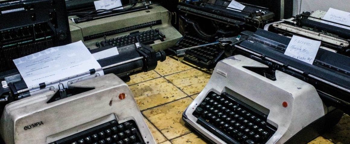 Kirjoituskoneita.