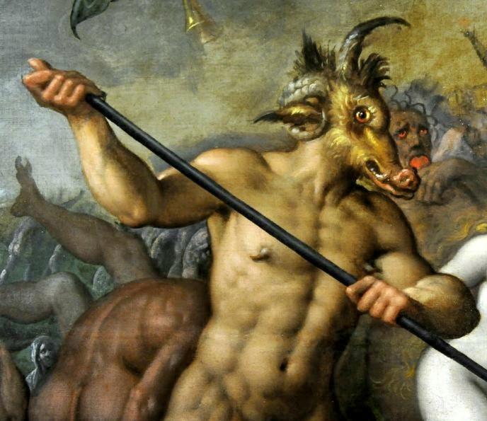 Kristillisessä taiteessa paholainen voi näyttää tältä. Yksityiskohta Jacob de Backerin maalauksesta. Kuva: Wikipedia.