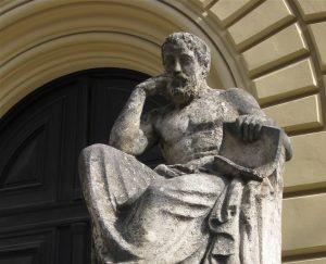 Hippokrateen patsas Bayerische Staatsbibliothekin edustalla Münchenissä. Kuva: Wikipedia.
