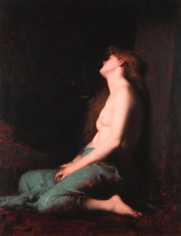 """Jean Jacques Hennerin maalaus """"Yksinäisyys"""". Kuva: Wikipedia."""