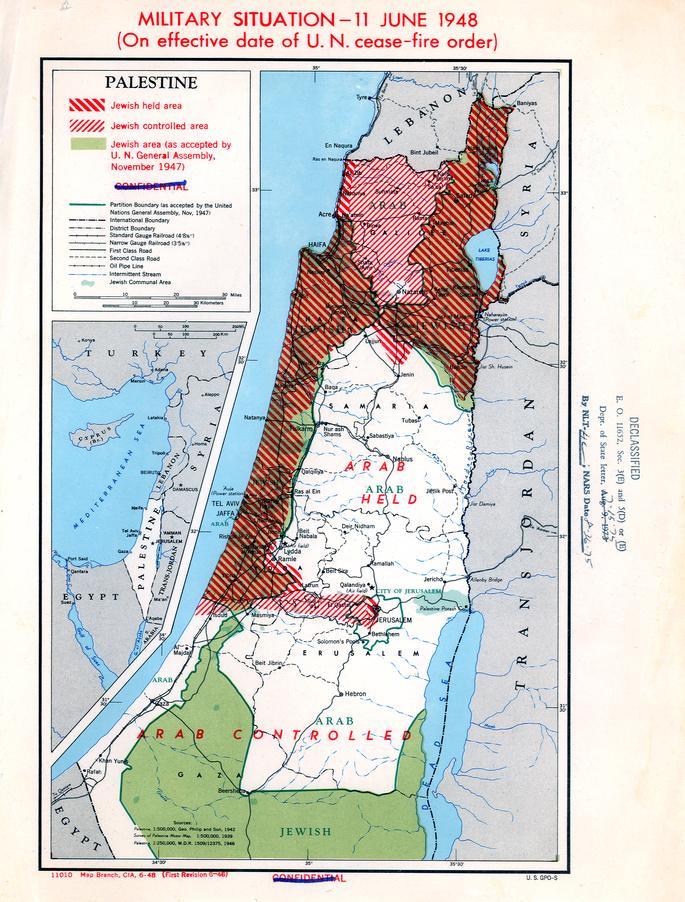 Sotatilanne Palestiinassa kesäkuussa 1948. Kuva: Wikipedia.