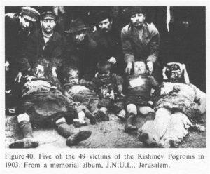 Pogromin uhreja Kishinjovissa Bessarabiassa 1903. Kuva: Wikipedia.