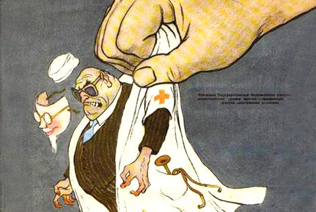 1950-luvun alussa Stalin alkoi epäillä juutalaisia lääkäreitä juonittelusta hänen tappamisekseen. Kuva: Tablet Magazine.