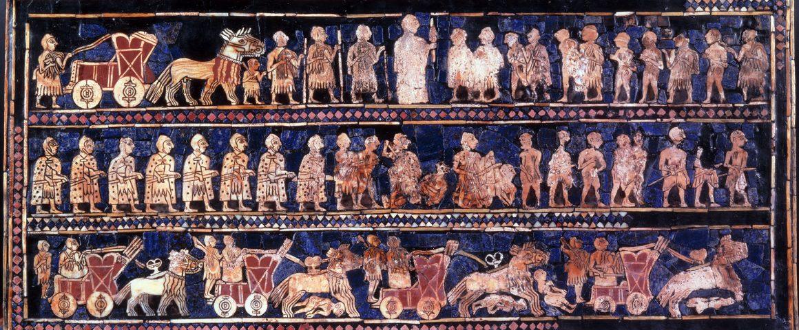 Mosaiikkikuvitusta sumerilaisen Urin sotakalustosta noin 2500-luvulla. Kuva: Wikipedia.