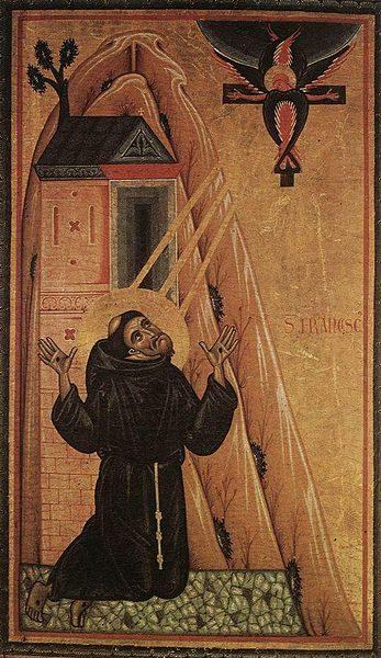 P. Franciscus vastaanottaa stigmat. 1240–1250 tehty maalaus. Kuva: Wikipedia.