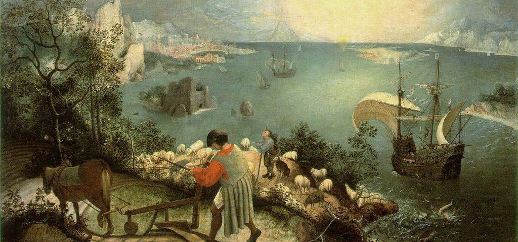 Pieter Bruegel vanhemman maalaus Ikaroksen putoamisesta.