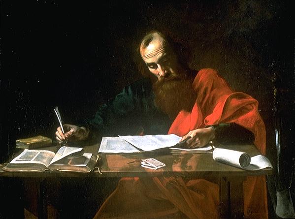 Pyhä Paavali kirjoittamassa kirjeitään. Kuva: Wikipedia.