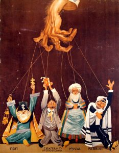 Neuvostopropagandan mukaan uskontojen edustajat olivat sätkynukkeja, joita neuvostovallan viholliset liikuttelivat.