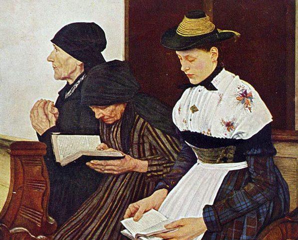 Wilhelm Leiblin maalaus Kolme naista kirkossa (1881). Kuva: Wikipedia.