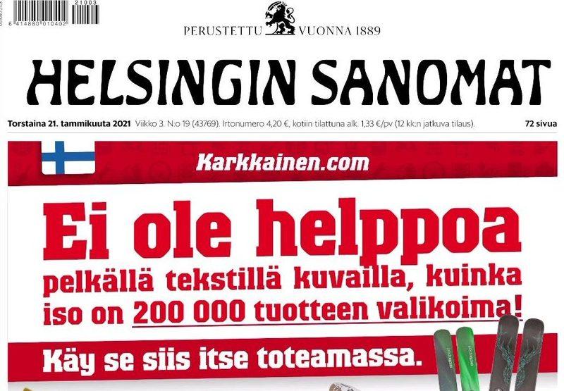 Kärkkäisen mainos Hesarissa 21.1.2021.