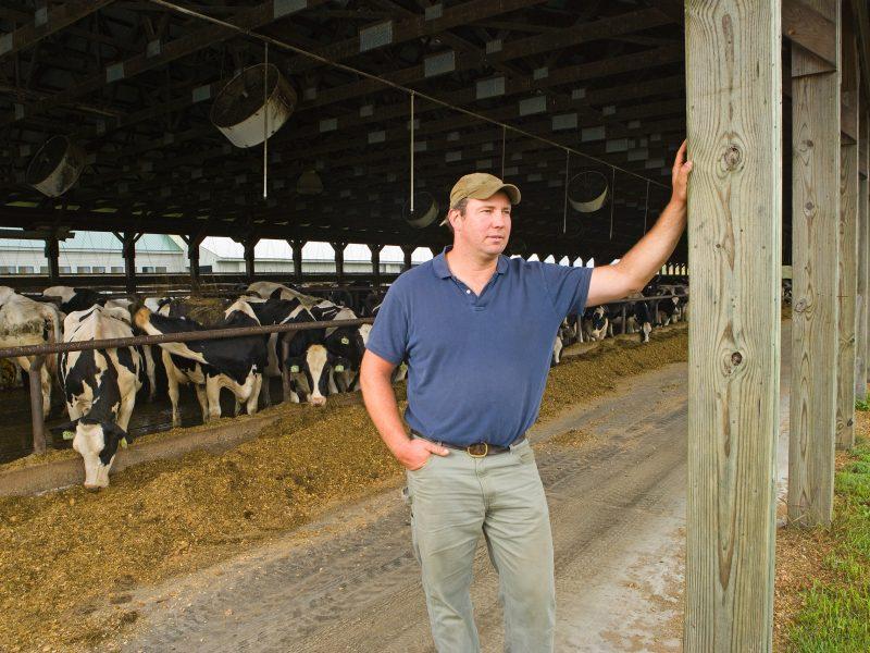 Maanviljelijä navetan ovella. Kuva: Wikipedia.