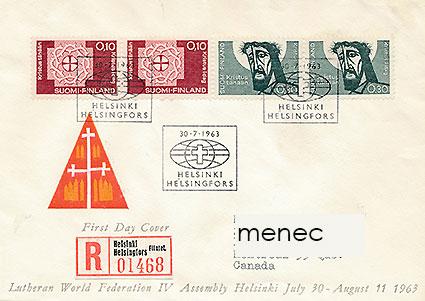 Luterilaisen maailmanliiton kokous Helsingissä sai myös omat postimerkkinsä. Luterilaisen maailmanliiton kokous Helsingissä sai myös omat postimerkkinsä. Kuva: Menec-verkkoantikvariaatti.