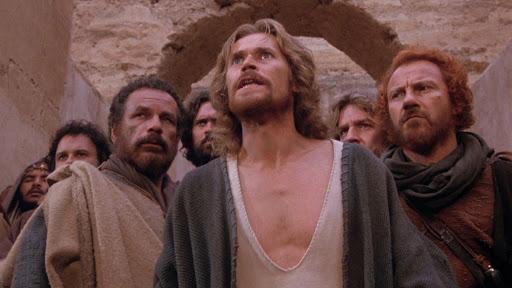 Willem Dafoe Kristuksen viimeisen kiusauksen pääosassa. Kohtaus elokuvasta.