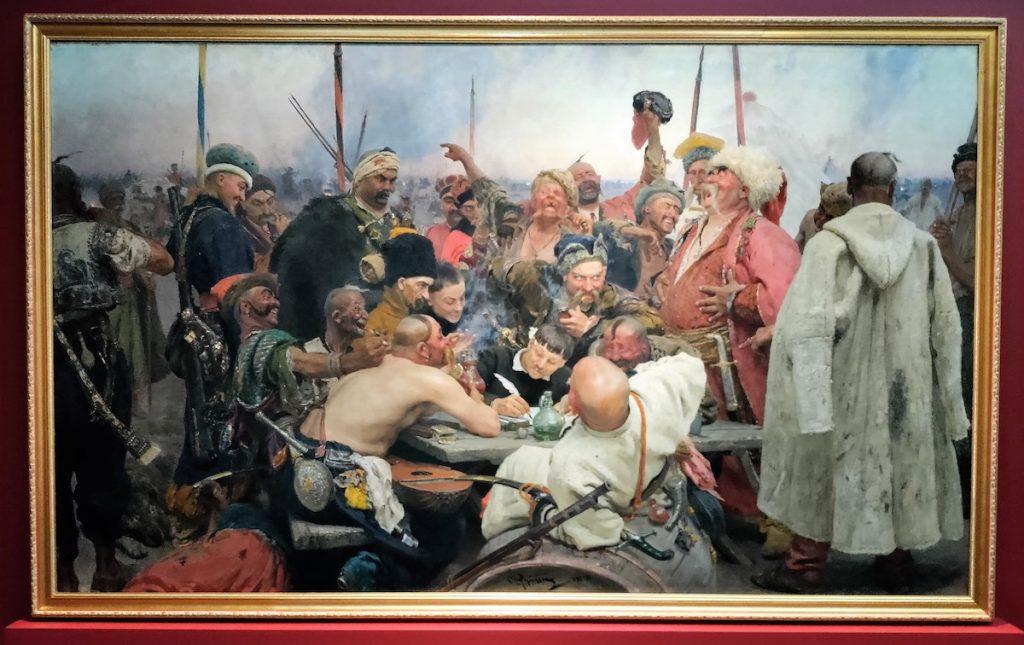 Ilja Repin: Zaporogit kirjoittamassa pilkkakirjettä Turkin sulttaanille (1881-1883). Kuva: Hannu Kuosmanen.