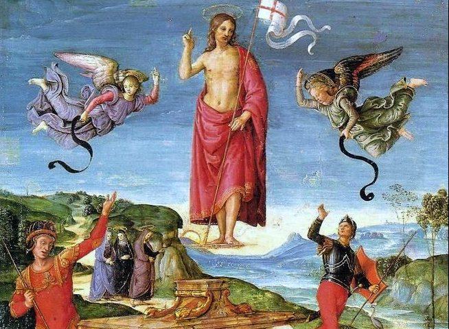 """Raphaelin maalaus """"kristuksen ylösnousemus noin v. 1500. Kuva: Wikipedia."""