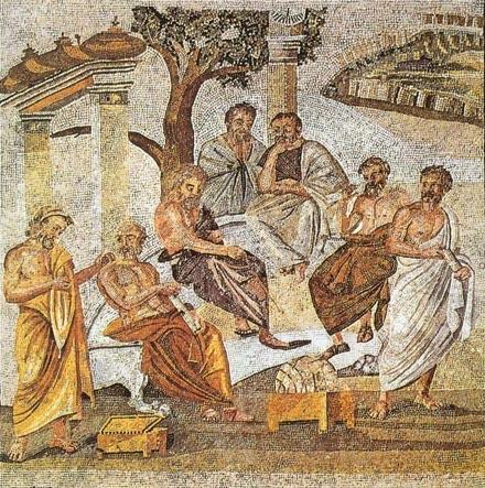 Platonin akatemia, mosaiikki Pompeijista. Kuva: Wikipedia.