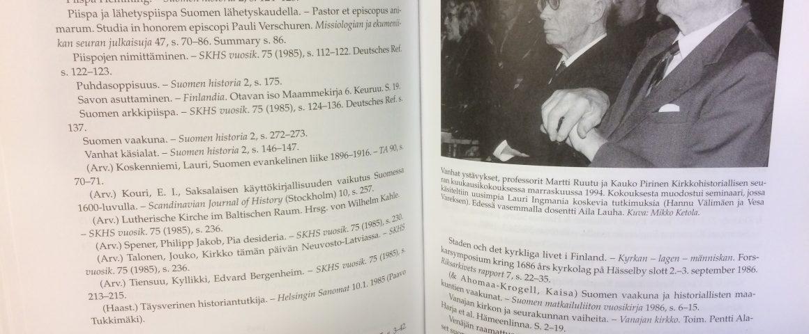 Aukeama professori Kauko Pirisen bibliografiasta.